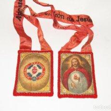 Antigüedades: ANTIGUO ESCAPULARIO APOSTOLADO DE LA ORACIÓN DEL SAGRADO CORAZÓN DE JESÚS. Lote 277467083