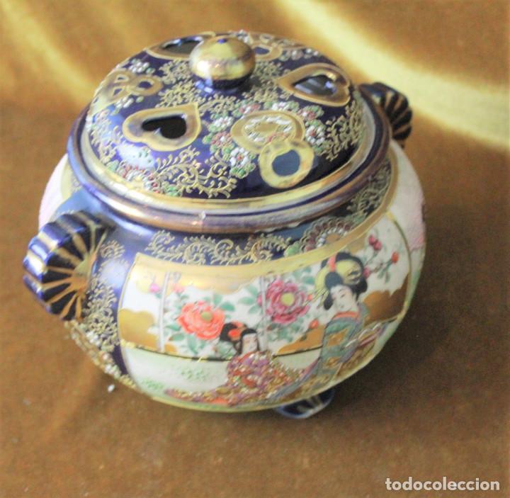 ANTIGUO TIBOR O INCENSARIO DE PORCELANA JAPONESA. SELLO ACREDITATIVO. (Antigüedades - Porcelana y Cerámica - Japón)