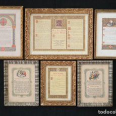 Antigüedades: CONJUNTO DE SEIS SACRAS ELABORADAS EN MADERA Y CRISTAL. PPS. S. XX.. Lote 277536548