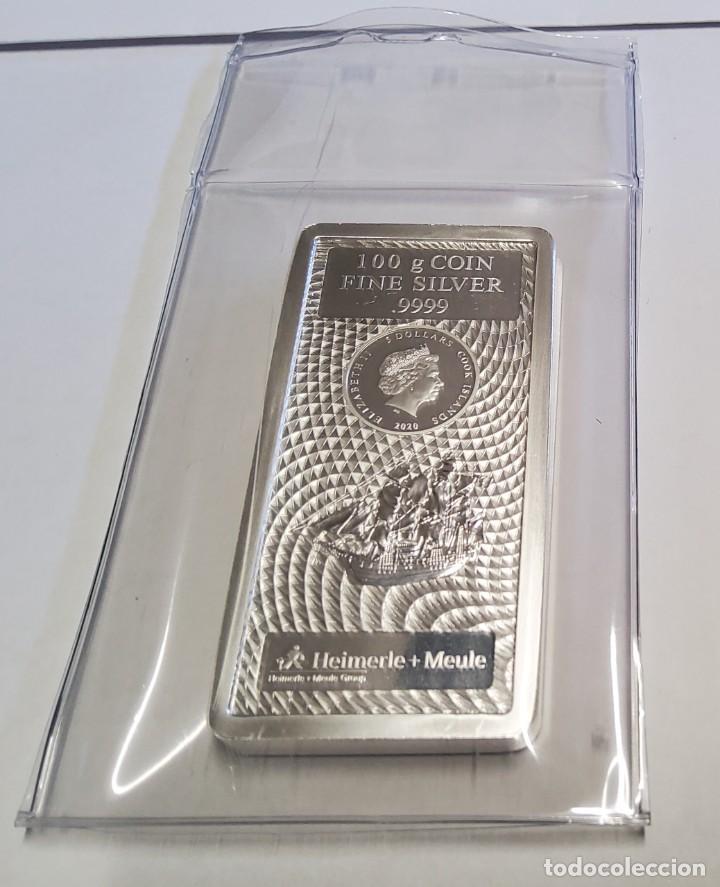 LINGOTE 100 GRAMOS DE PLATA DE ISLAS COOK.PLATA PURA LEY 9999.PRECINTADO CON CERTIFICADO ORIGINAL. (Antigüedades - Platería - Plata de Ley Antigua)