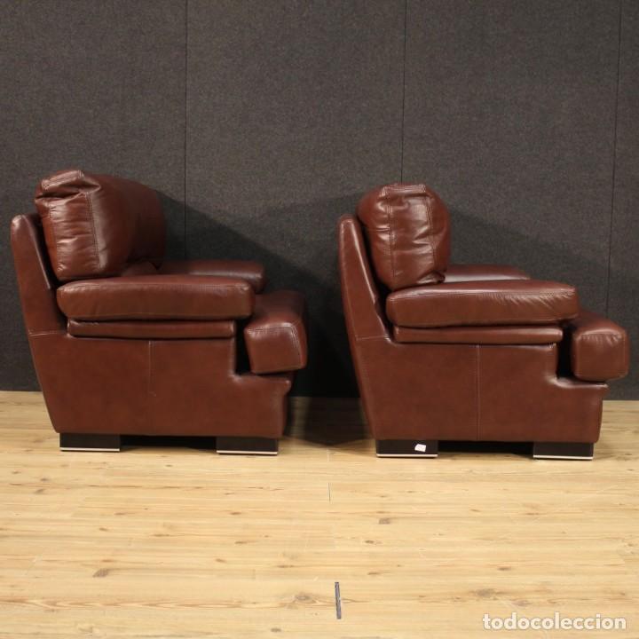 Antigüedades: Par de sillones italianos de cuero - Foto 7 - 277565843