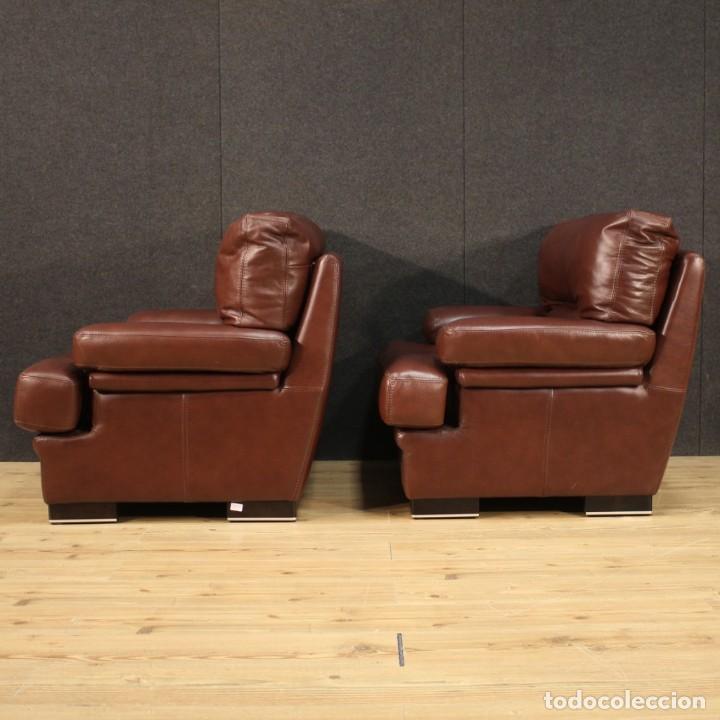 Antigüedades: Par de sillones italianos de cuero - Foto 9 - 277565843