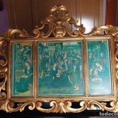 Antigüedades: CORNUCOPIA MARCO TRIPTICO MADERA TALLADA. Lote 277570328