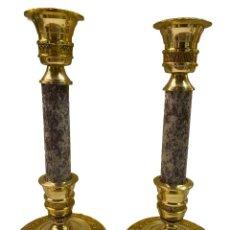 Antigüedades: ANTIGUA PAREJA DE CANDELABROS DE BRONCE NAPOLEÓN III, IMPERIO. S. XIX. 25 CM. Lote 277601953
