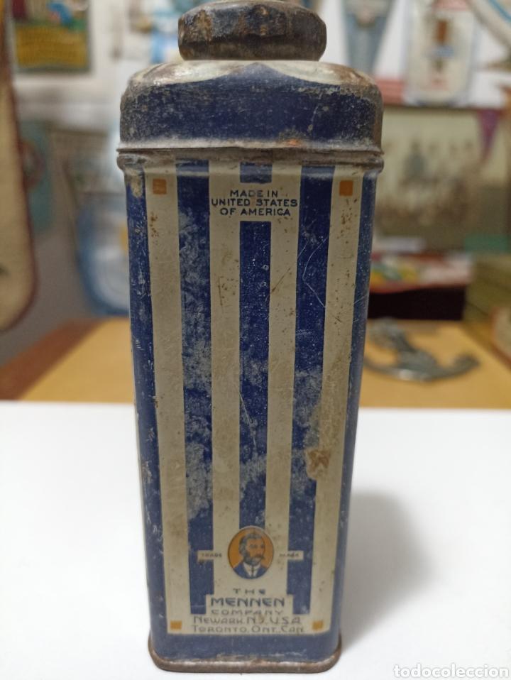 Antigüedades: Antigua lata talquera de los EEUU Borated Talcum de Mennen - Foto 2 - 277607648