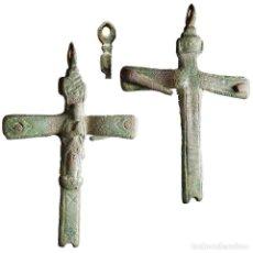 Antigüedades: ANTIGUO CRUCIFIJO EN METAL, SIGLO XVIII, 48 MM. 1398-7,5-M. Lote 277610588