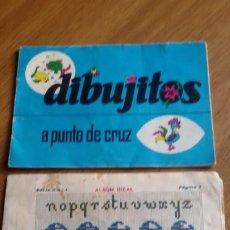 Antigüedades: 2 ALBUM PARA BORDAR A PUNTO DE CRUZ. DIBUJITOS Y ALBUM IDEAL SERIE G N.1 - LABORES. Lote 277640923