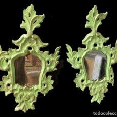Antigüedades: CORNUCOPIAS ANTIGUAS EN VERDE LUIS XV, IDEALES. Lote 277653553