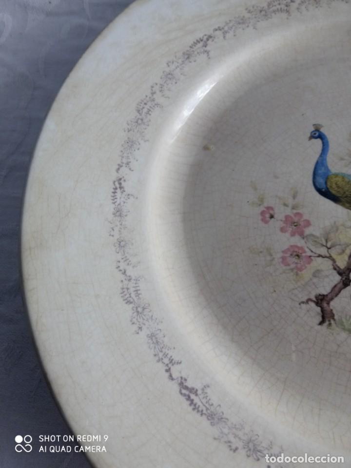 Antigüedades: Pareja de antiguos platos de La Cartuja , Pickman, con pavos reales. - Foto 5 - 277684623