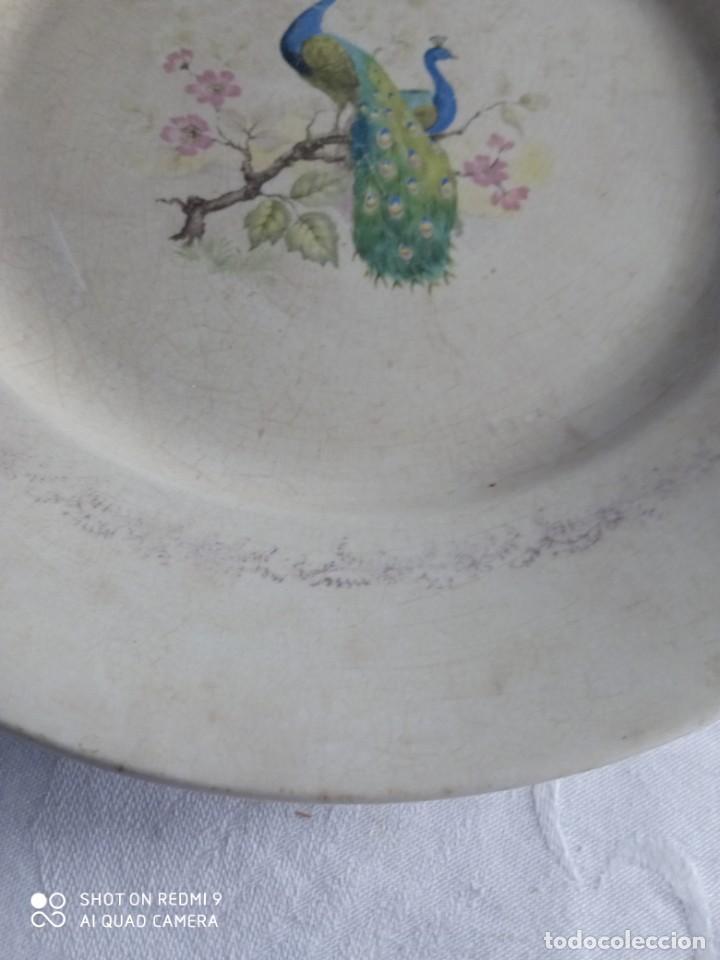 Antigüedades: Pareja de antiguos platos de La Cartuja , Pickman, con pavos reales. - Foto 17 - 277684623