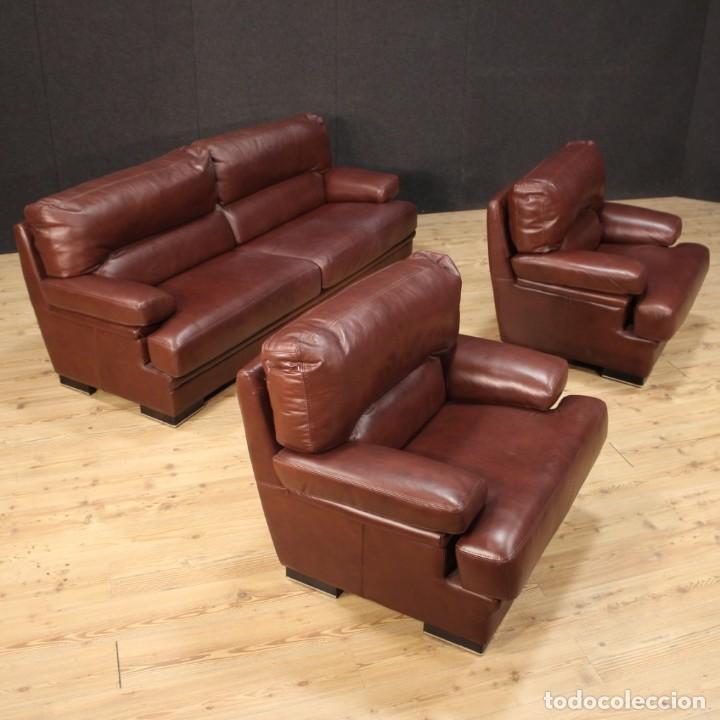 Antigüedades: Gran sofá de cuero de los años 80 - Foto 5 - 277701493