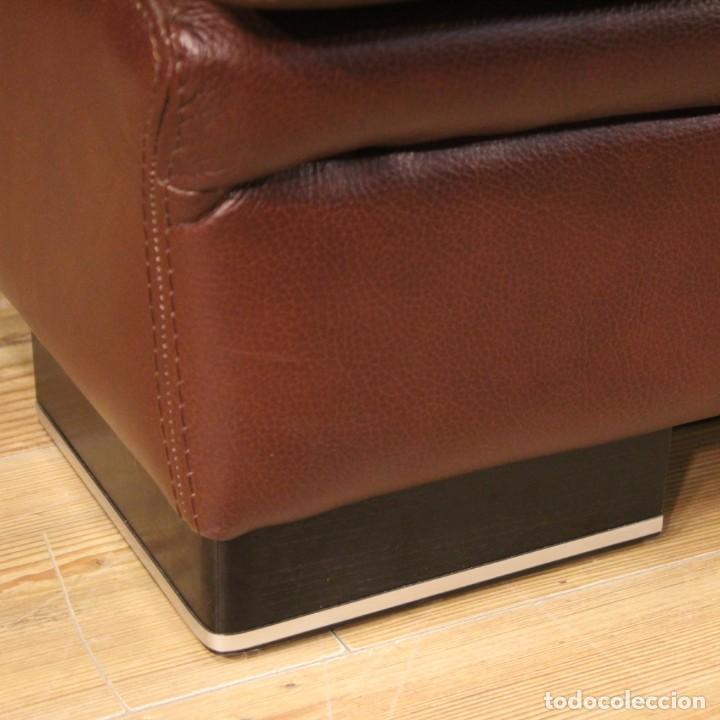 Antigüedades: Gran sofá de cuero de los años 80 - Foto 7 - 277701493