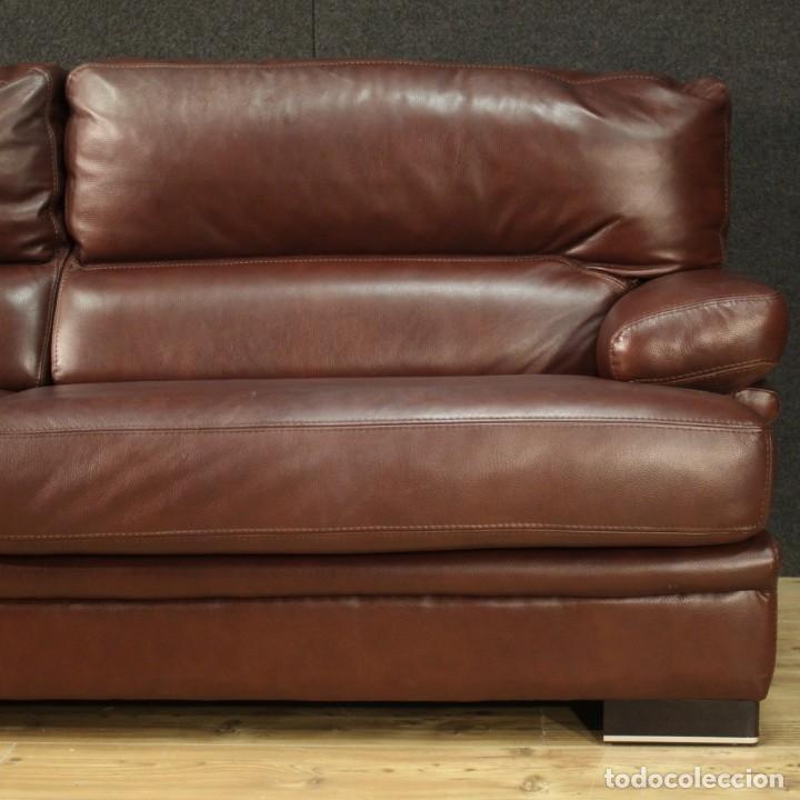Antigüedades: Gran sofá de cuero de los años 80 - Foto 11 - 277701493