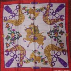 Antigüedades: PAÑUELO DE SEDA CON MOTIVO SAMURAI. Lote 277725318