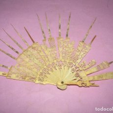 Antigüedades: ANTIGUO ABANICO VARILLAJE EN HUESO Y/O MARFIL TALLADO. Lote 277743368