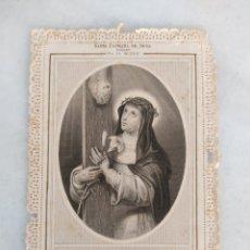 Antigüedades: ANTIGUA ESTAMPA RELIGIOSA SANTA CATALINA DE SENA PANNIER PARIS. Lote 277755693