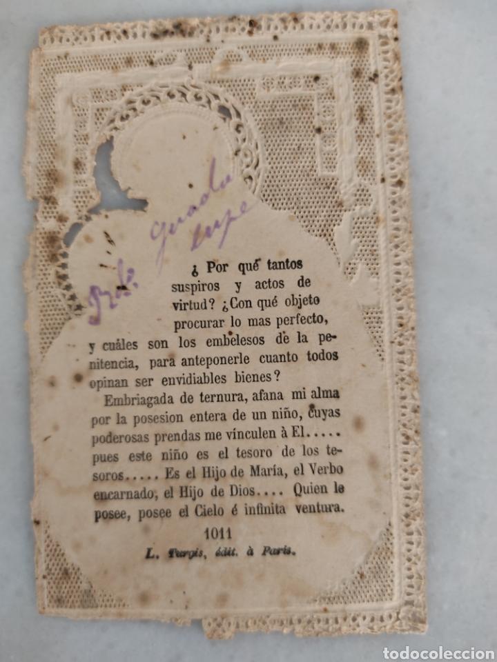 Antigüedades: Antigua estampa religiosa de puntila calada San Antonio de Padua Original - Foto 2 - 277756468
