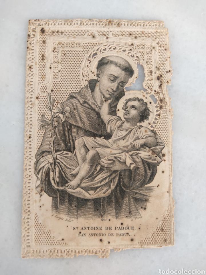 ANTIGUA ESTAMPA RELIGIOSA DE PUNTILA CALADA SAN ANTONIO DE PADUA ORIGINAL (Antigüedades - Religiosas - Varios)