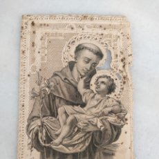 Antigüedades: ANTIGUA ESTAMPA RELIGIOSA DE PUNTILA CALADA SAN ANTONIO DE PADUA ORIGINAL. Lote 277756468