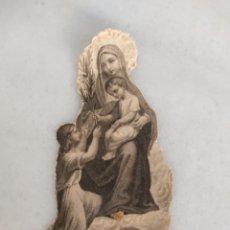 Antigüedades: ESTAMPA RELIGIOSA TROQUELADA IL VIENT NOUS APPORTER LA PAIX. Lote 277760308