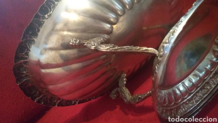Antigüedades: Centro de mesa BANDEJA Frutero ALPACA BAÑO DE PLATA ALCOR GALLONADA MOTIVOS FLORARES y 4 Caballitos - Foto 8 - 277820733