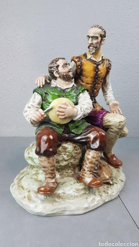 DON QUIJOTE Y SANCHO PANZA PORCELANA VIDRIADA HISPANIA SALVADOR MALLOL AÑOS 40. MEDIDAS 25CM DE ALT (Antigüedades - Porcelanas y Cerámicas - Otras)