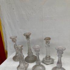 Antigüedades: GRAN LOTE DE CANDELABROS ANTIGUOS DE CRISTAL!. Lote 278192248