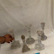 Antigüedades: GRAN LOTE CANDELABROS ANTIGUOS DE CRISTAL,UNO SAGRADO CORAZON!. Lote 278274003