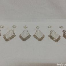 Antigüedades: LOTE 8 LAGRIMAS CRISTAL PENDOLEQUES COLGANTES. LAMPARA ANTIGUA. 8X4,5X0,8CM.. Lote 278300628