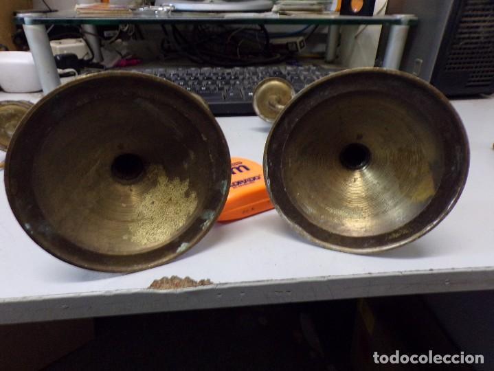 Antigüedades: antigua pareja de candelabros de tres velas - Foto 6 - 278333528