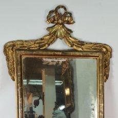 Antigüedades: ESPEJO DE PARED. MADERA TALLADA. DORADA A LA HOJA DE ORO. SIGLO XVIII-XIX.. Lote 278348328