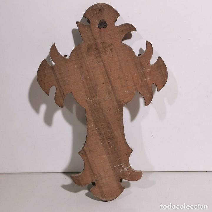 Antigüedades: ANTIGUA BENDITERA RELIGIOSA CON UN CRUCIFIJO - EN MADERA Y VARIOS METALES - SIGLO XIX - MUY RARA - Foto 4 - 278393358