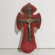 Antigüedades: ANTIGUA BENDITERA RELIGIOSA CON UN CRUCIFIJO - EN MADERA Y METALES - SIGLO XIX - MUY CURIOSA. Lote 278393873