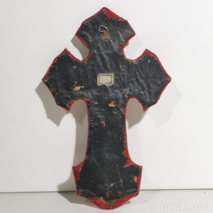 Antigüedades: ANTIGUA BENDITERA RELIGIOSA CON UN CRUCIFIJO - EN MADERA Y METALES - SIGLO XIX - MUY CURIOSA - Foto 4 - 278394223