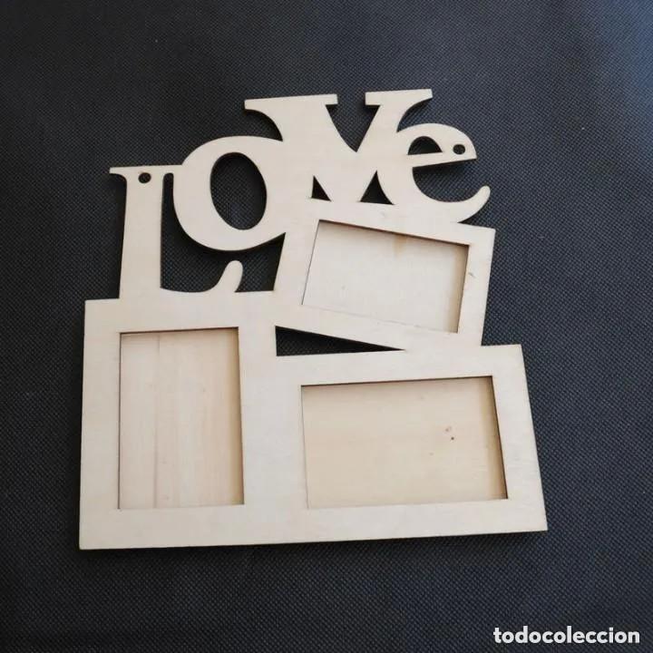 PRECIOSO MARCO DE FOTOS DISEÑO LOVE(NUEVO) (Antigüedades - Hogar y Decoración - Portafotos Antiguos)
