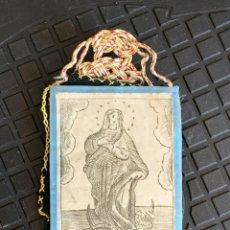 Antiquités: ESCAPULARIO SAN BENITO PURISIMA CONCEPCION TELA S XVIII XIX 9X6CMS. Lote 278399518
