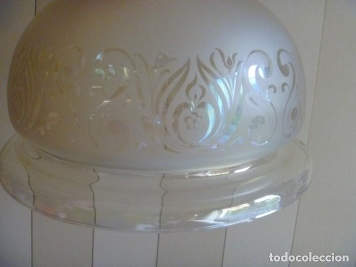 ANTIGUA GRAN TULIPA DE CRISTAL GLASEADO GRABADO AL ÁCIDO PARA LAMPARA TECHO – 33 CM DIAMETRO (Antigüedades - Iluminación - Otros)