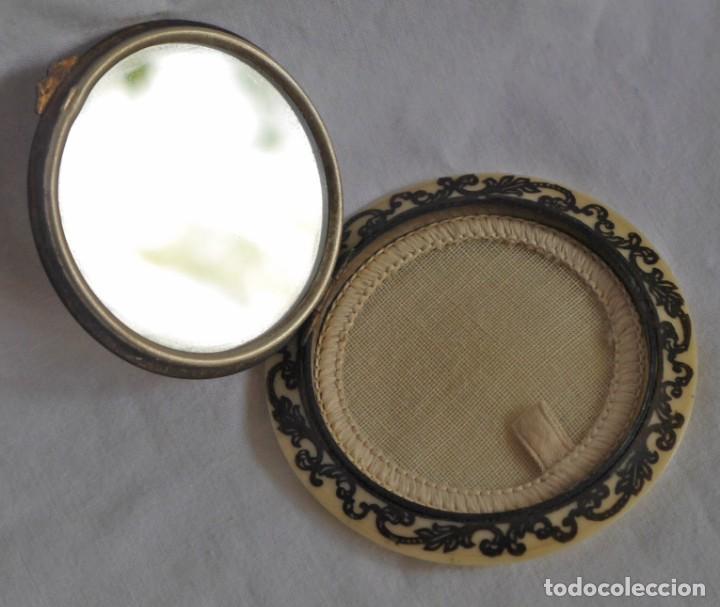 Antigüedades: Preciosa polvera vidrio pintado a mano firma Giby y pasta simil marfil, Made in Francia - Foto 7 - 278486378