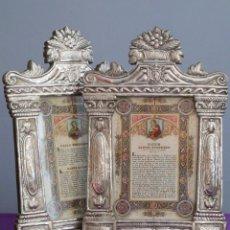 Antigüedades: PAREJA DE SACRAS ELABORADAS EN PLATA REPUJADA. SIGLO XIX.. Lote 278534798
