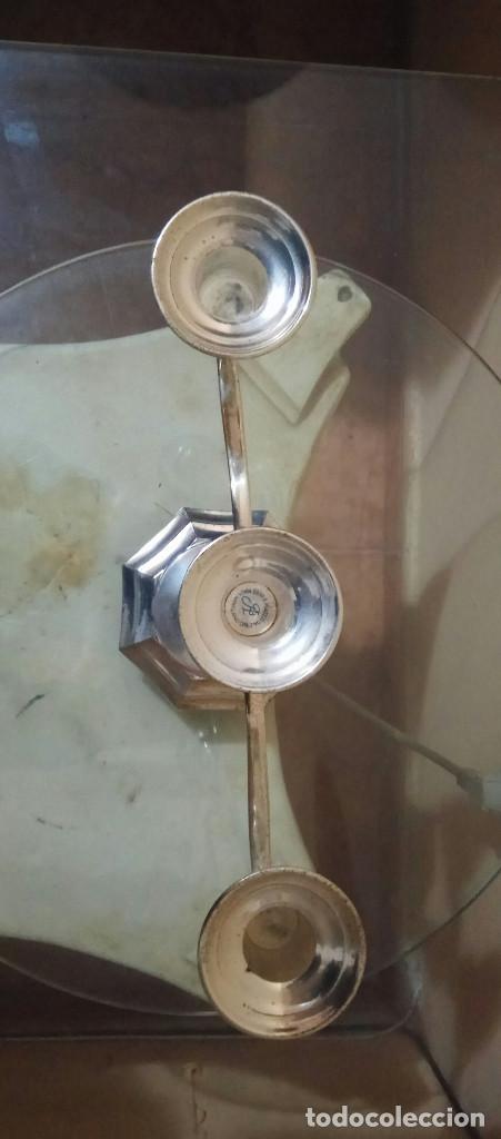 Antigüedades: Candelabro ingles para tres velas de plata en zinc. tenebrario - velador, candela, cirio, hacha, old - Foto 5 - 278588923
