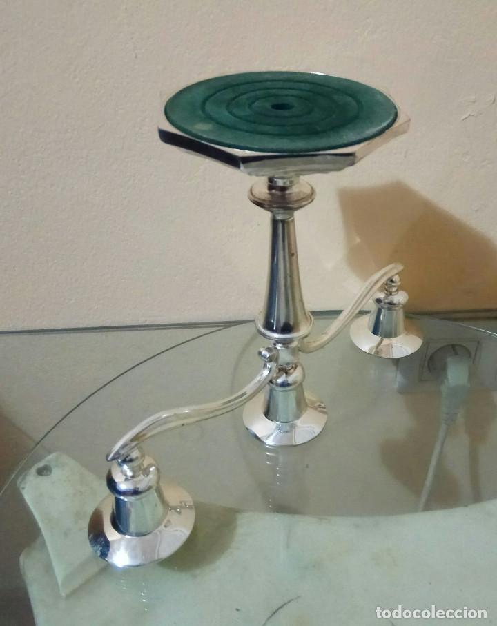 Antigüedades: Candelabro ingles para tres velas de plata en zinc. tenebrario - velador, candela, cirio, hacha, old - Foto 6 - 278588923