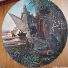 Antigüedades: GRAN PIEZA LOZA FINA PICKMAN (SEVILLA) GRAN MEDALLA ORO PARIS 1878. PINTURA DE UNA BATALLA. Lote 278620043