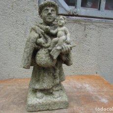 Antigüedades: IMAGEN DE SAN ANTONIO EN PIEDRA. ANTIGUO. DETALLADO Y PROPORCIONADO. Lote 278689458