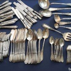 Antigüedades: GRAN CUBERTERÍA DE 12 SERVICIOS DE ALPACA PLATEADA, 118 PIEZAS, A ESTRENAR. VER FOTOS. Lote 278700508