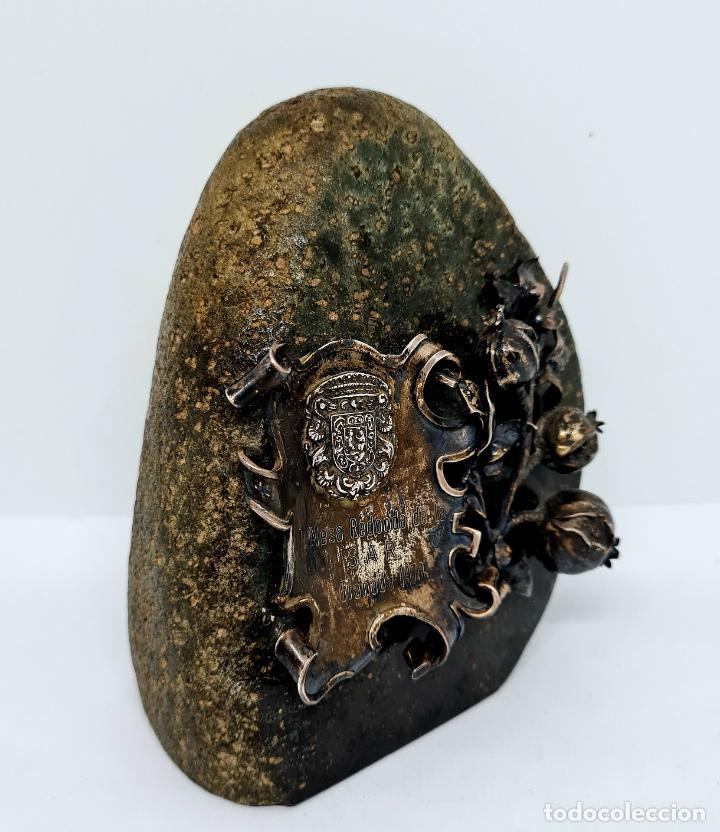 Antigüedades: MUY BONITO PISAPAPELES EN PIEDRA CON APLICACION DE PLATA - Foto 8 - 278824408