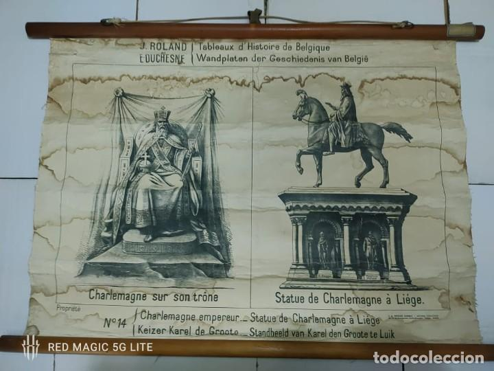51003 - TAPIZ DE TELA CON GRABADO SOBRE PAPEL - CHARLEMAGNE EMPEREUR - Nº 14 (Antigüedades - Hogar y Decoración - Tapices Antiguos)