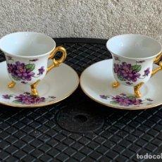 Antigüedades: JUEGO 2 TAZAS 2 PLATOS COLECCION TE CAFE PORCELANA LIMOGES FRANCE F&F 5,5X11CMS. Lote 278920133