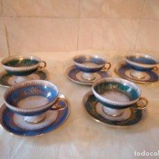 Antigüedades: ANTIGUO SERVICIO DE CAFÉ DE PORCELANA JL MENAU MADE IN GERMANY,DIFERENTES COLORES.10 PIEZAS. Lote 278922058
