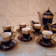 Antigüedades: ANTIGUO SERVICIO DE CAFÉ DE PORCELANA ECHT KOBALT BAVARIA WALDERSHOF 22 KARAT GOLD. 15 PIEZAS. Lote 278922763
