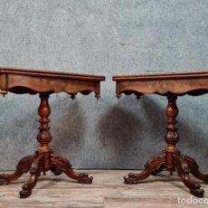 Antigüedades: RARE PAIRE DE TABLES A JEUX STYLE EMPIRE EN ACAJOU. Lote 278948668